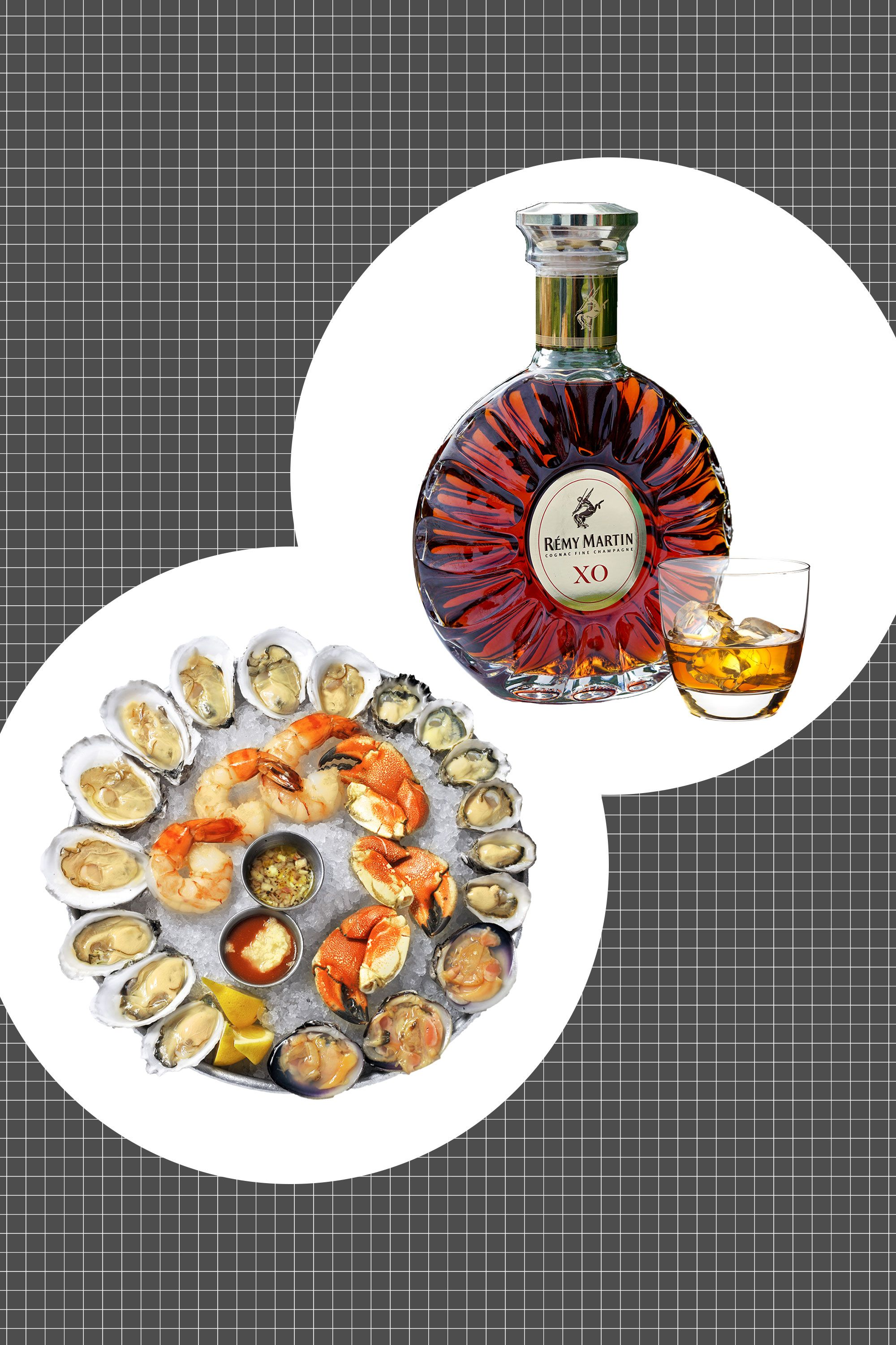 "<p>It isn't simply because the opulent tray of chilled shellfish and raw seafood echoes nicely with the layers of flavor and luxury of cognac—though it does. Rather, it's that the salinity and oceanic quality of shellfish like oysters and lobster claws finds a smooth and summer-fruited companion in cognac, especially a fine cognac as rich and well-balanced as <a href=""http://www.remymartin.com/us/collection/xo/"">Remy Martin XO</a>. It's the ultimate surf-and-turf. </p><p> <strong data-redactor-tag=""strong"">How to serve:</strong> Neat, room temperature, and often.</p><p><span class=""redactor-invisible-space"" data-verified=""redactor"" data-redactor-tag=""span"" data-redactor-class=""redactor-invisible-space""></span><br></p>"