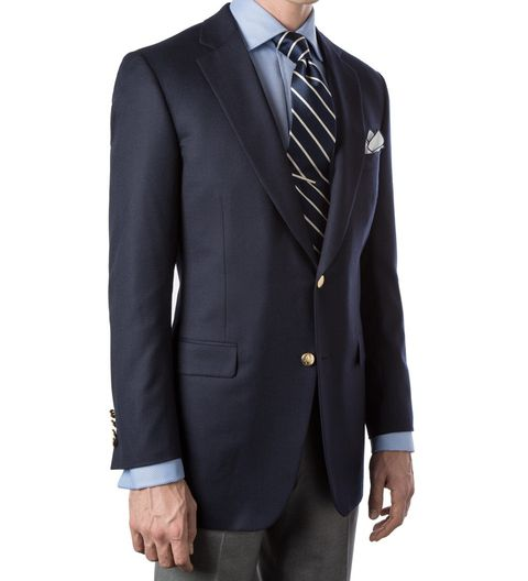 "<p>Brass buttons optional. Though, when they look this good, why not go for it?</p><p><em data-verified=""redactor"" data-redactor-tag=""em"">Navy wool doeskin blazer ($1,185) by Paul Stuart, <a href=""https://www.paulstuart.com/men-s/tailored-clothing/blazers/navy-wool-doeskin-blazer.html"" target=""_blank"" data-tracking-id=""recirc-text-link"">paulstuart.com</a></em></p>"