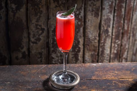 "<p>In a shaker filled with ice, add 1 ounce strawberry puree, 1 1/2 ounce campari, 1/2 ounce simple syrup, 1/4 lemon juice, and 3 dashes Peychaud's Bitters. Pour into a Champagne flute, and top with Champagne.&nbsp;</p><p><em data-verified=""redactor"" data-redactor-tag=""em"">Recipe courtesy of <a href=""http://macaonyc.com/"" data-tracking-id=""recirc-text-link"">Macao</a>.&nbsp;</em><br></p>"