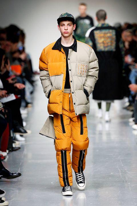 Footwear, Sleeve, Outerwear, Fashion show, Jacket, Style, Fashion model, Cap, Runway, Street fashion,