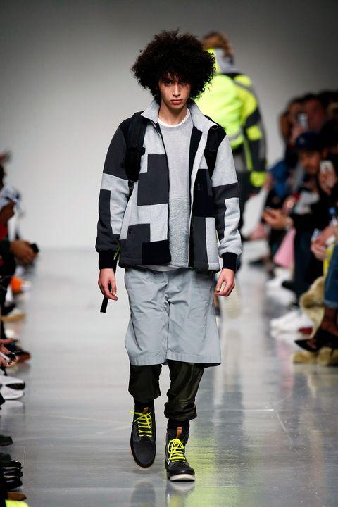 Clothing, Product, Sleeve, Outerwear, Fashion show, Style, Jacket, Shorts, Fashion model, Runway,