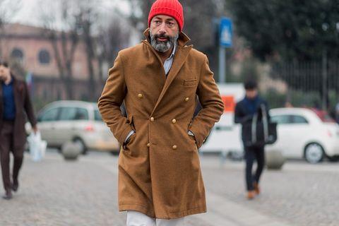 Clothing, Human, Leg, Cap, Winter, Coat, Sleeve, Human body, Trousers, Road,