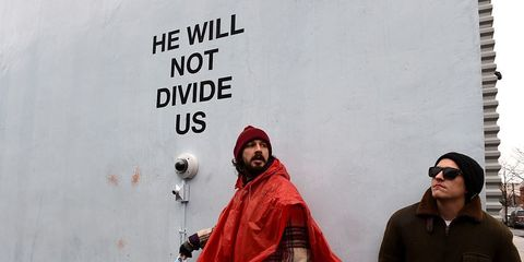 Shia LaBeouf at his 'He Will Not Divide Us' livestream in New York