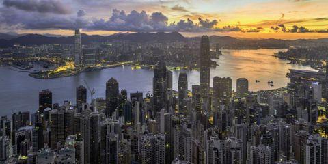 Metropolitan area, City, Tower block, Urban area, Cityscape, Metropolis, Dusk, Building, Sunset, Skyscraper,