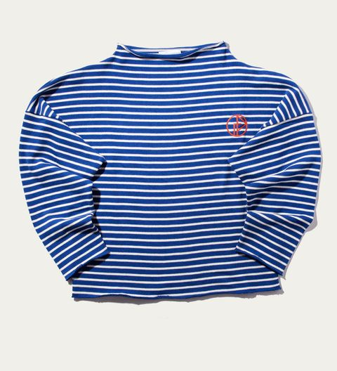 Blue, Product, Sleeve, Collar, White, Electric blue, Sweater, Pattern, Azure, Cobalt blue,