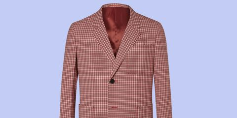 Clothing, Product, Dress shirt, Collar, Sleeve, Pattern, Textile, Shirt, Red, White,