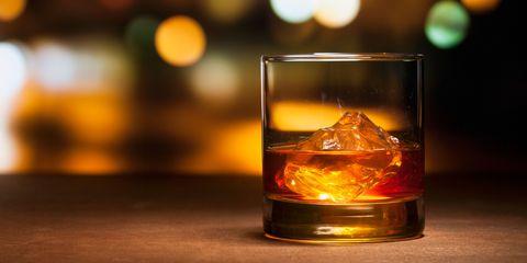 Fluid, Liquid, Glass, Alcoholic beverage, Amber, Drinkware, Orange, Drink, Distilled beverage, Old fashioned glass,