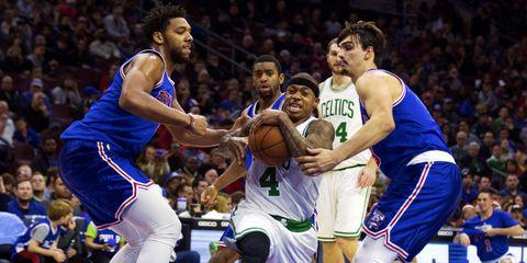 Basketball moves, Basketball, Sports uniform, Nose, Ball, Basketball player, Jersey, Sportswear, People, Sports equipment,