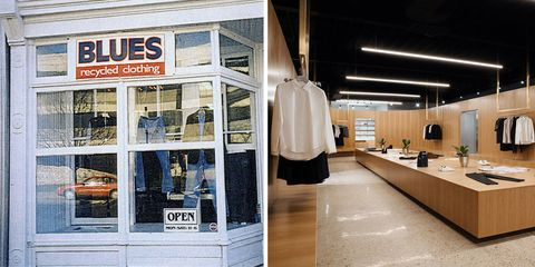 Clothes hanger, Retail, Countertop, Outlet store, Houseplant, Plumbing fixture, Tile, Boutique, Plywood, Tap,