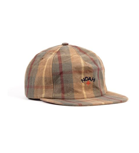 Cap, Clothing, Beige, Baseball cap, Brown, Plaid, Headgear, Fashion accessory, Tartan, Design,