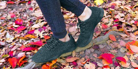 Footwear, Shoe, Leg, Leaf, Pink, Jeans, Fashion, Plimsoll shoe, Autumn, Human leg,