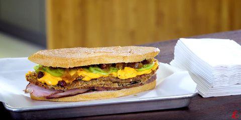 Food, Dish, Cuisine, Breakfast sandwich, Ingredient, Sandwich, Finger food, Baked goods, Fast food, Produce,