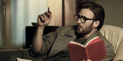 Eyewear, Vision care, Glasses, Facial hair, Sitting, Hand, Comfort, Beard, Reading, Publication,