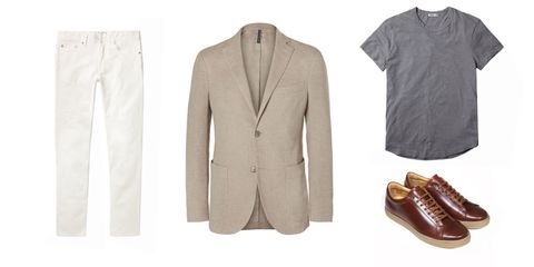 Clothing, White, Outerwear, Blazer, Brown, Jacket, Sleeve, Footwear, Beige, Suit,