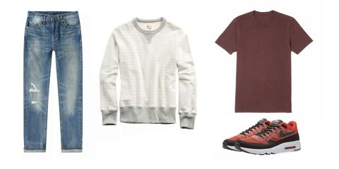 Clothing, White, Sleeve, T-shirt, Footwear, Fashion, Outerwear, Jeans, Long-sleeved t-shirt, Shoe,