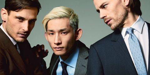 Hair, Suit, Chin, Hairstyle, Facial hair, White-collar worker, Cheek, Forehead, Human, Movie,