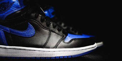 Footwear, Blue, Shoe, Black, White, Sneakers, Cobalt blue, Electric blue, Basketball shoe, Athletic shoe,