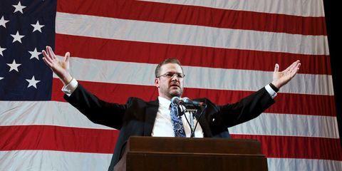 Speech, Public speaking, Orator, Spokesperson, Flag, Gesture, Event, News conference, Speaker, Official,