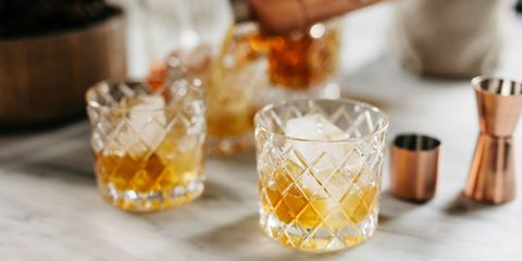 Drink, Old fashioned glass, Food, Old fashioned, Alcohol, Ingredient, Distilled beverage, Whisky, Glass, Beer cocktail,