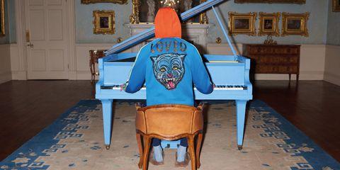 Blue, Musical instrument, Wood, Keyboard, Flooring, Floor, Door, Majorelle blue, Hardwood, Musical keyboard,