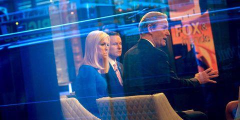 Electric blue, Conversation, Blond, Television program, Scene,