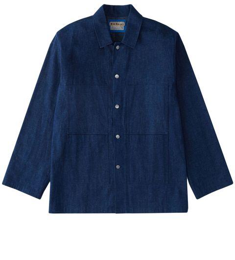 Clothing, Blue, Sleeve, Button, Outerwear, Collar, Denim, Pocket, Shirt, Textile,