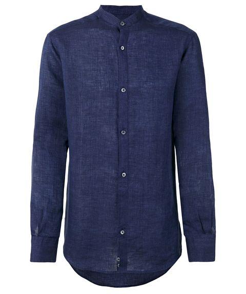 Clothing, Blue, Collar, Sleeve, Shirt, Denim, Dress shirt, Button, Pocket, Outerwear,