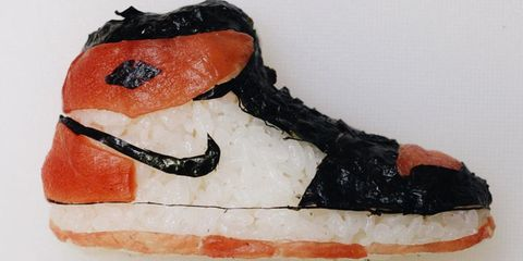 Basketball shoes made out of sushi