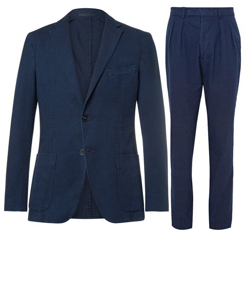 Clothing, Suit, Outerwear, Blue, Blazer, Jacket, Formal wear, Sleeve, Electric blue, Trousers,