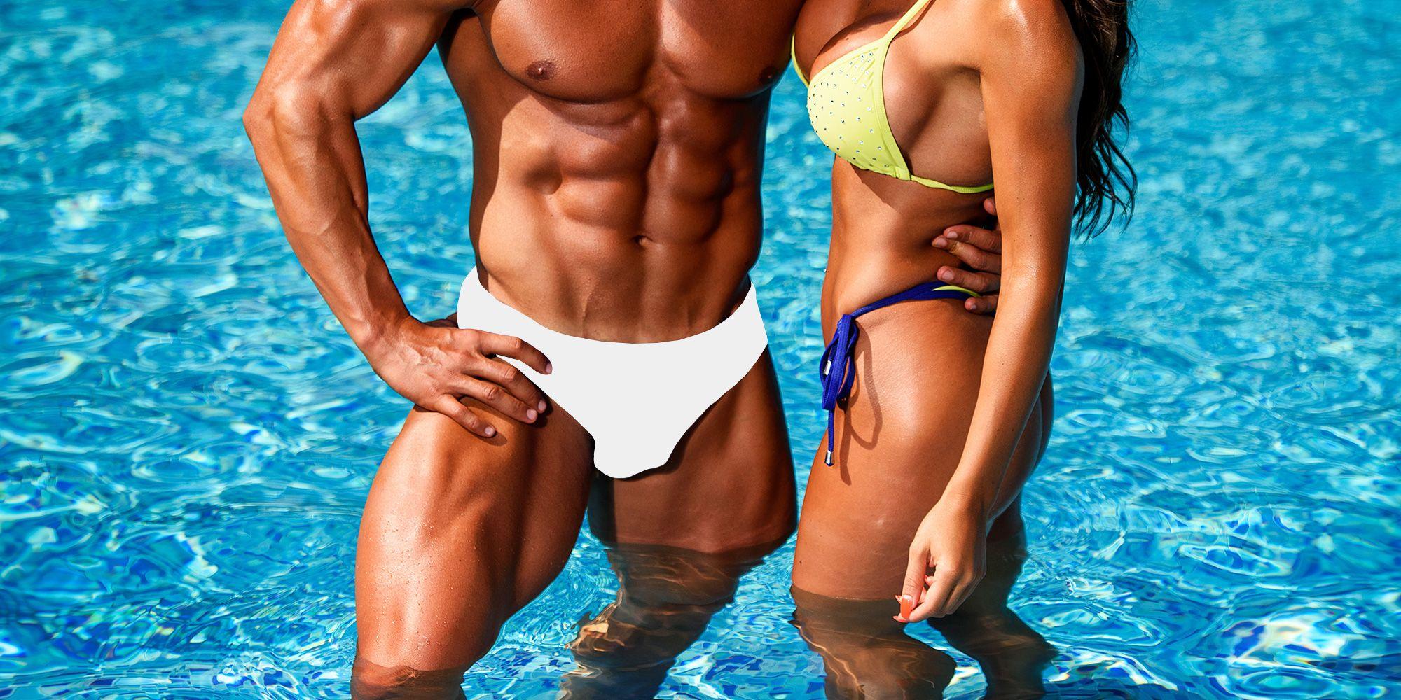 Where should a guy wear his sisters bikini?