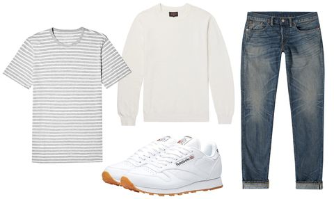 White, Clothing, Jeans, Denim, Footwear, T-shirt, Sleeve, Fashion, Shoe, Outerwear,
