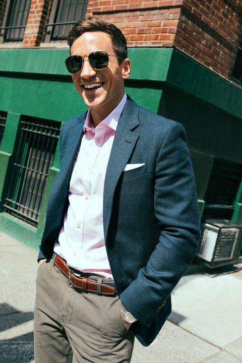 Clothing, Glasses, Coat, Trousers, Collar, Green, Dress shirt, Shirt, Textile, Pocket,