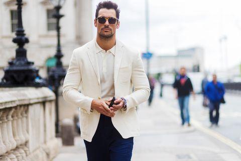 Street fashion, White, Photograph, Blue, Fashion, Yellow, Snapshot, Suit, Eyewear, Glasses,