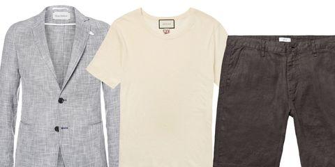 Clothing, White, T-shirt, Sleeve, Outerwear, Pocket, Denim, Beige, Jeans, Suit,
