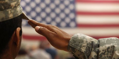 Finger, Soldier, Military person, Military uniform, Wrist, Pattern, Military camouflage, Camouflage, Gesture, Flag of the united states,