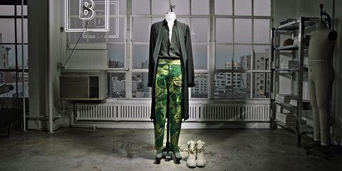Human body, Collar, Blazer, Shelf, Animation, Shelving, Pocket, Suit trousers, Tie, Bench,