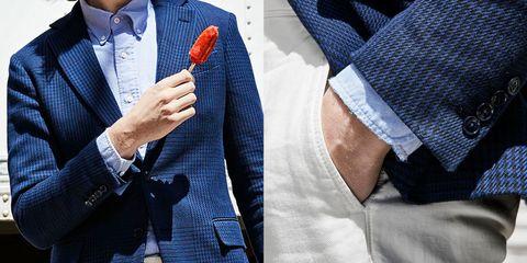 Tie, Blue, Suit, Outerwear, Pocket, Blazer, Bow tie, Formal wear, Denim, Jacket,