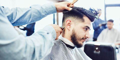 Ear, Hairstyle, Forehead, Eyebrow, Facial hair, Style, Barber, Crew cut, Sweater, Beard,