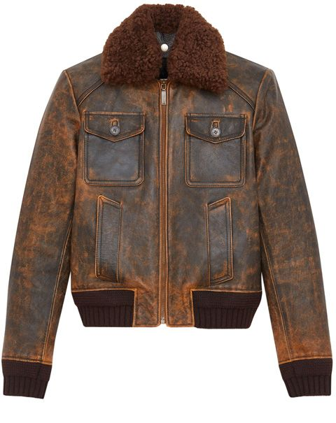 Jacket, Clothing, Leather, Leather jacket, Outerwear, Sleeve, Brown, Fur, Textile, Top,