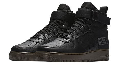c00adc2ef00d3 A tamer version of the sky-high SF Air Force 1, this mid version offers a  similar look with a more relatable silhouette. A black leather upper and  gum sole ...