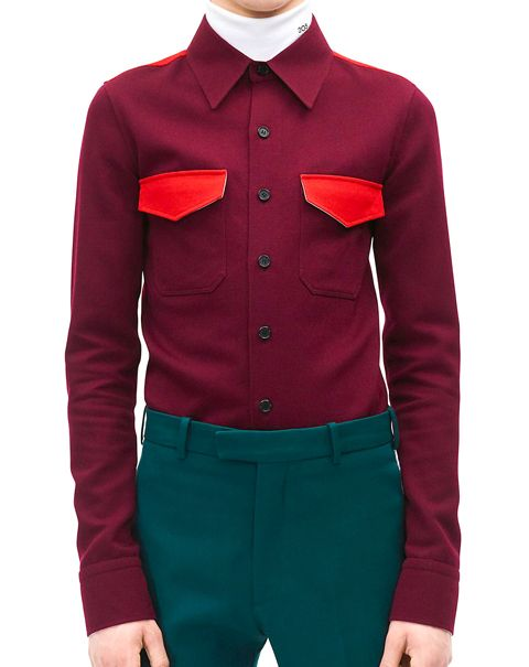 Clothing, Dress shirt, Collar, Sleeve, Textile, Shirt, Standing, Red, Joint, Pocket,