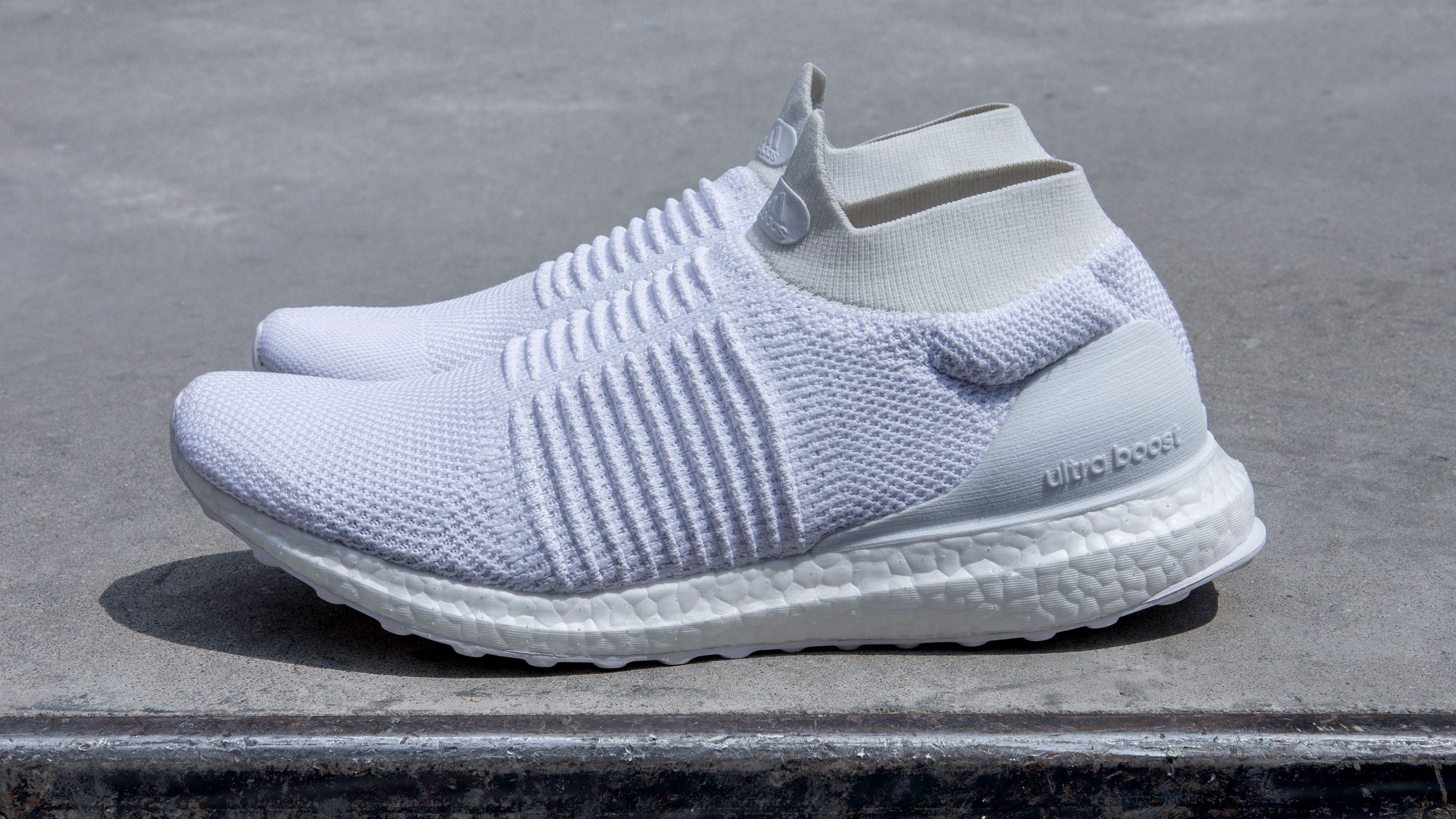 403aa97c07399 ... discount code for ultra boost laceless in triple white. adidas 27b7b  26ee8