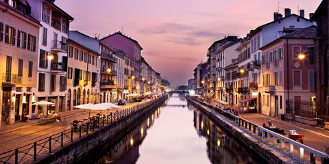 Canal, Waterway, Town, Channel, Sky, Reflection, Evening, City, Building, Water,
