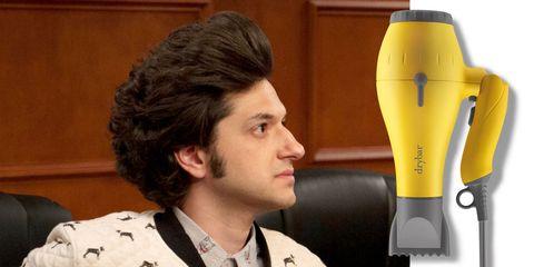 Hair, Hairstyle, Yellow, Microphone, Black hair, Ear,