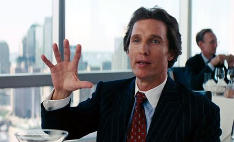 """<p>This movie is proof of what McConaughey can do with a bit part. He's in a brief&nbsp&#x3B;15 minutes of Martin Scorsese's three-hour capitalist epic—but he's still one of the most memorable parts of the film.<span class=""""redactor-invisible-space"""" data-verified=""""redactor"""" data-redactor-tag=""""span"""" data-redactor-class=""""redactor-invisible-space""""> <strong data-redactor-tag=""""strong"""" data-verified=""""redactor"""">Rent/buy on <a href=""""https://www.amazon.com/gp/product/B00IIU9U00/"""" target=""""_blank"""" data-tracking-id=""""recirc-text-link"""">Amazon</a> and <a href=""""https://itunes.apple.com/us/movie/the-wolf-of-wall-street/id774084884"""" target=""""_blank"""" data-tracking-id=""""recirc-text-link"""">iTunes</a>.</strong></span></p>"""