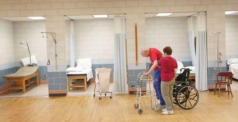 Hospital, Wheelchair, Floor, Nursing home, Room, Flooring, Building,