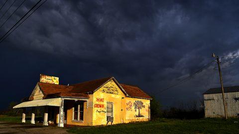 Sky, Cloud, House, Night, Yellow, Light, Home, Lighting, Rural area, Atmosphere,