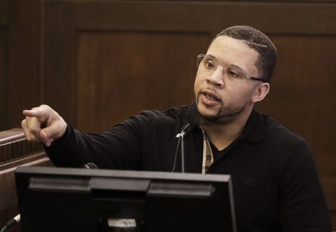 Alexander Bradley testifies during the double murder trial for Aaron  Hernandez in Suffolk Superior Court.