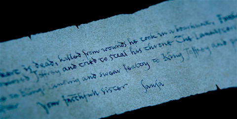 Game of Thrones Letter Theory   Sansa's Letter Arya Stole From