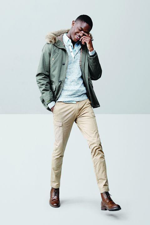 White, Clothing, Jeans, Khaki, Standing, Jacket, Fashion, Outerwear, Beige, Pocket,